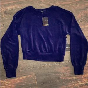 NWT Forever 21 velour small navy crop sweatshirt